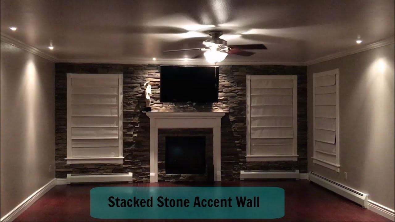 Home Improvement Living Room Stacked Stone Accent Wall