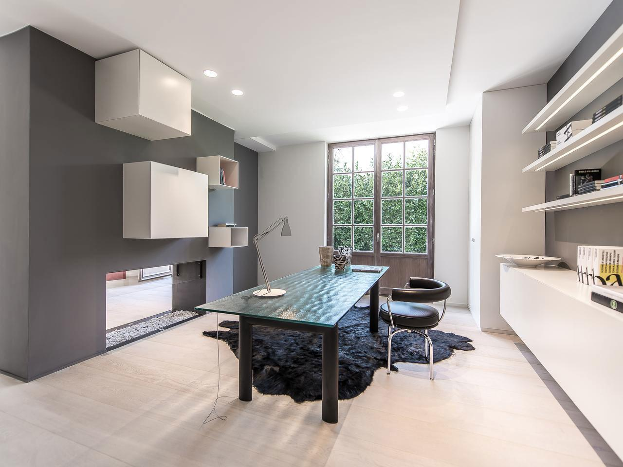 Home Office Fireplace House Renovation Sint Genesius