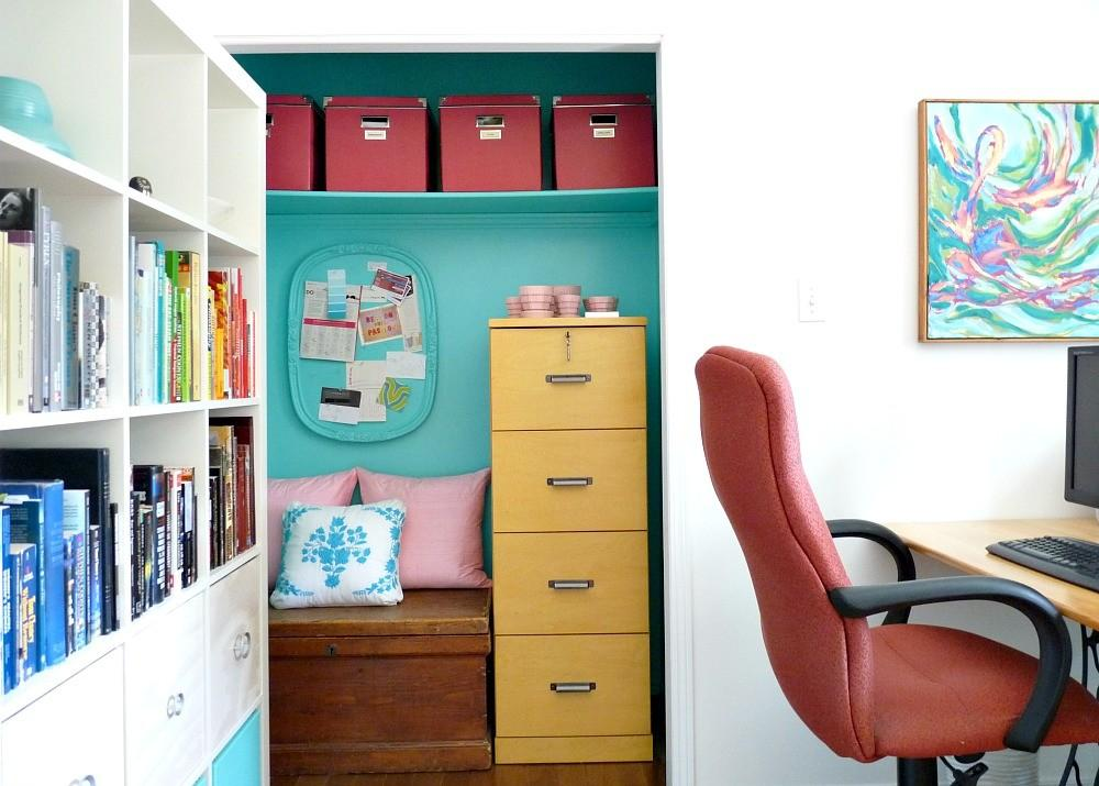Home Office Makeover Colorful Mid Century Modern