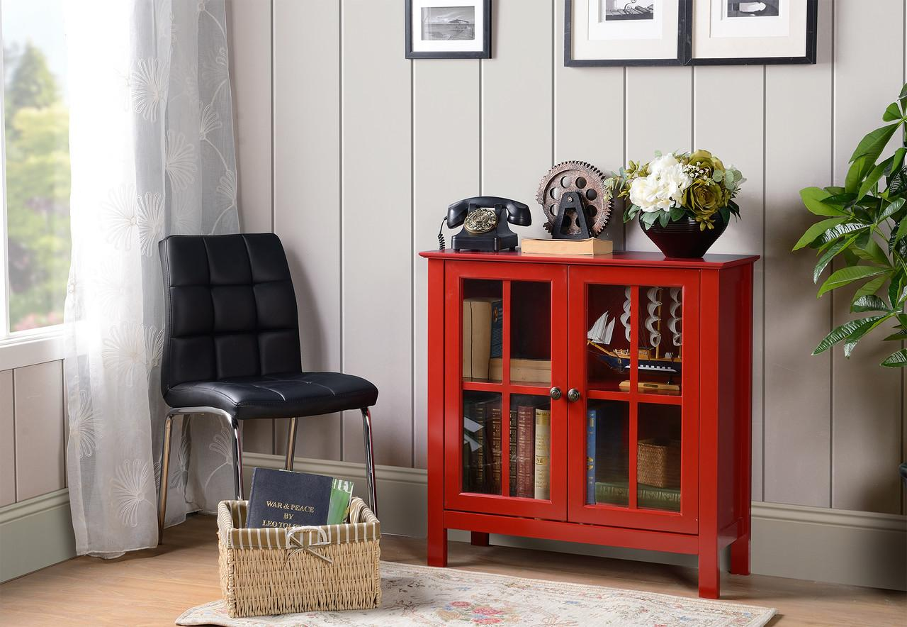 Home Office Red Glass Door Accent Cabinet
