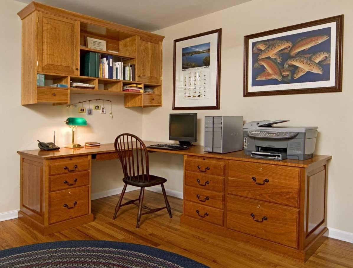 Home Office Wall Cabinets Natural Brown Color Ideas