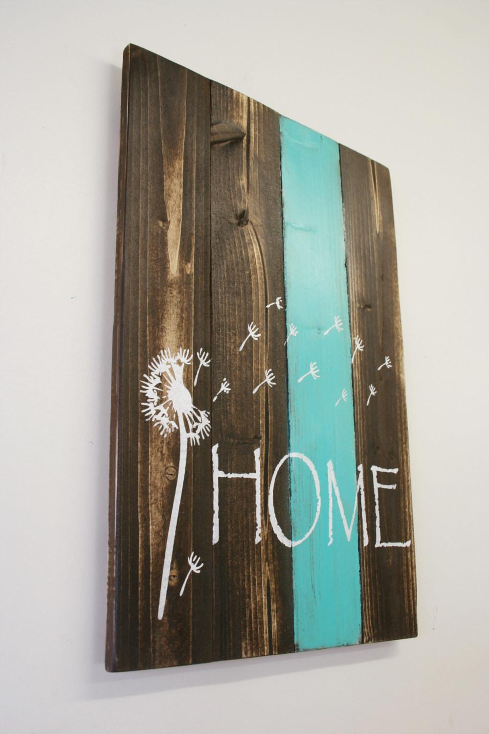 Home Pallet Sign Dandelion Rustic Decor Country
