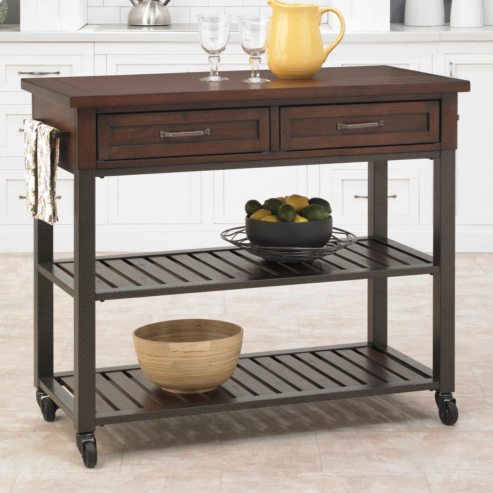 Home Styles Cabin Creek Drawer Open Shelf Kitchen Cart