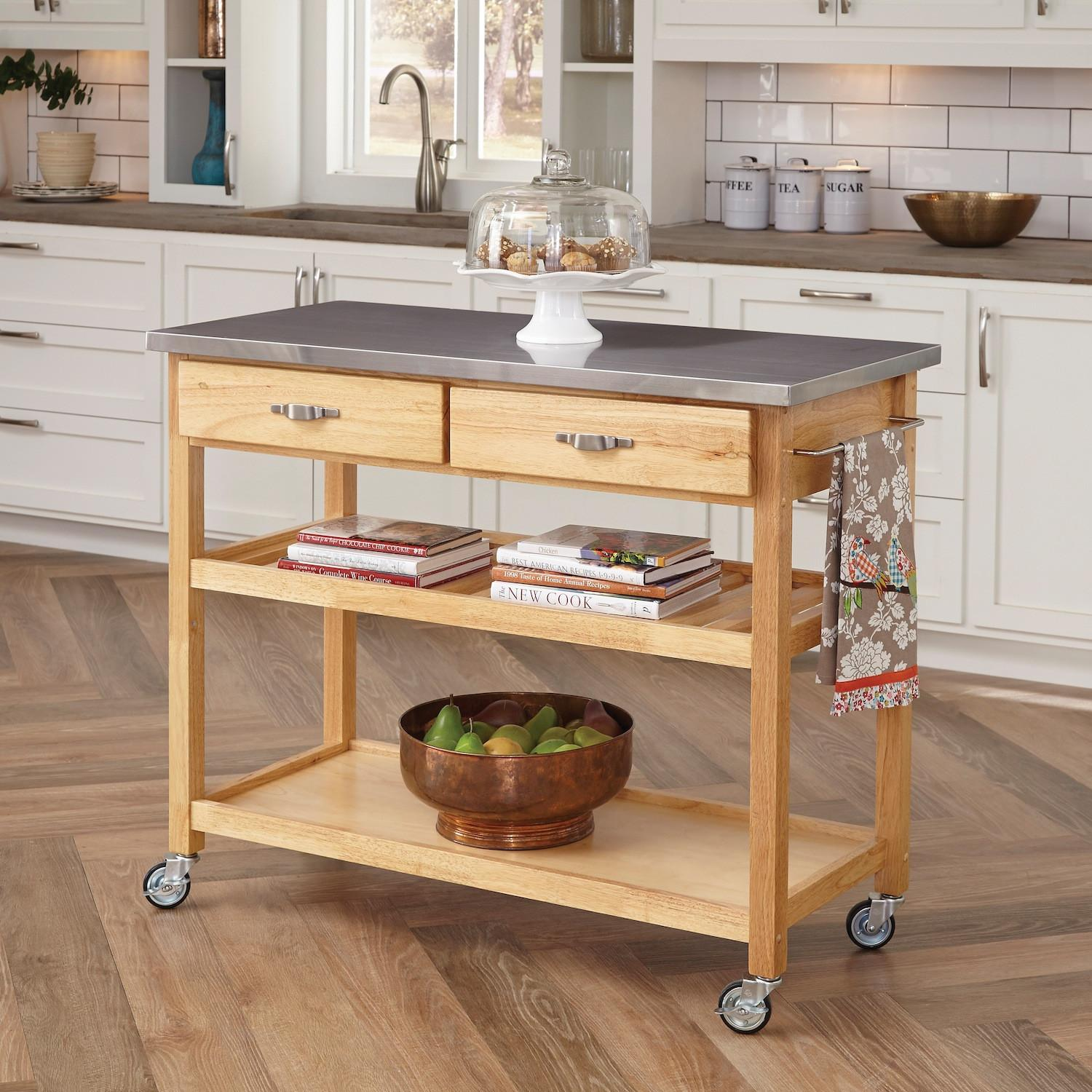 Home Styles Kitchen Island Stainless Steel Top