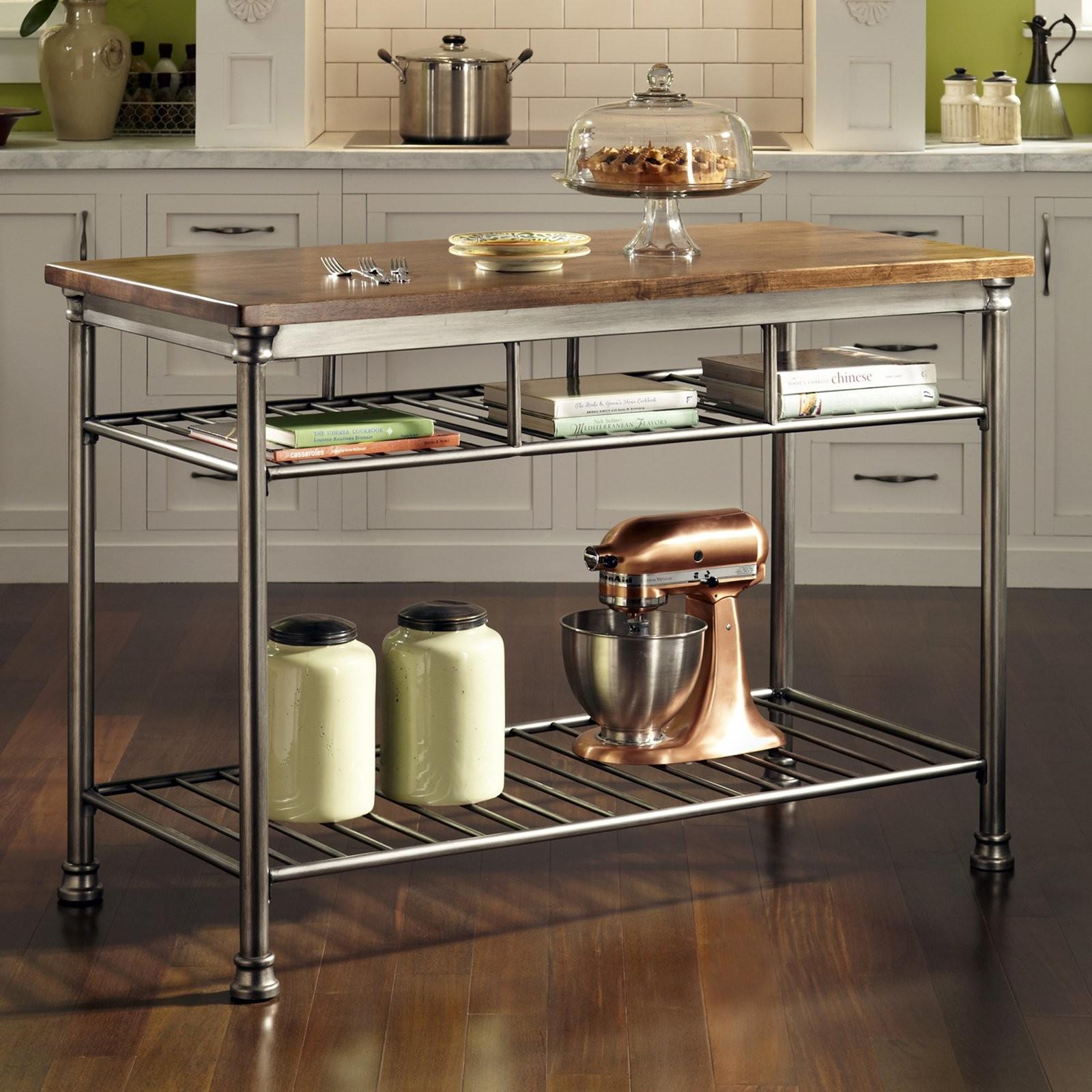 Home Styles Orleans Wire Rack Kitchen Island Caramel