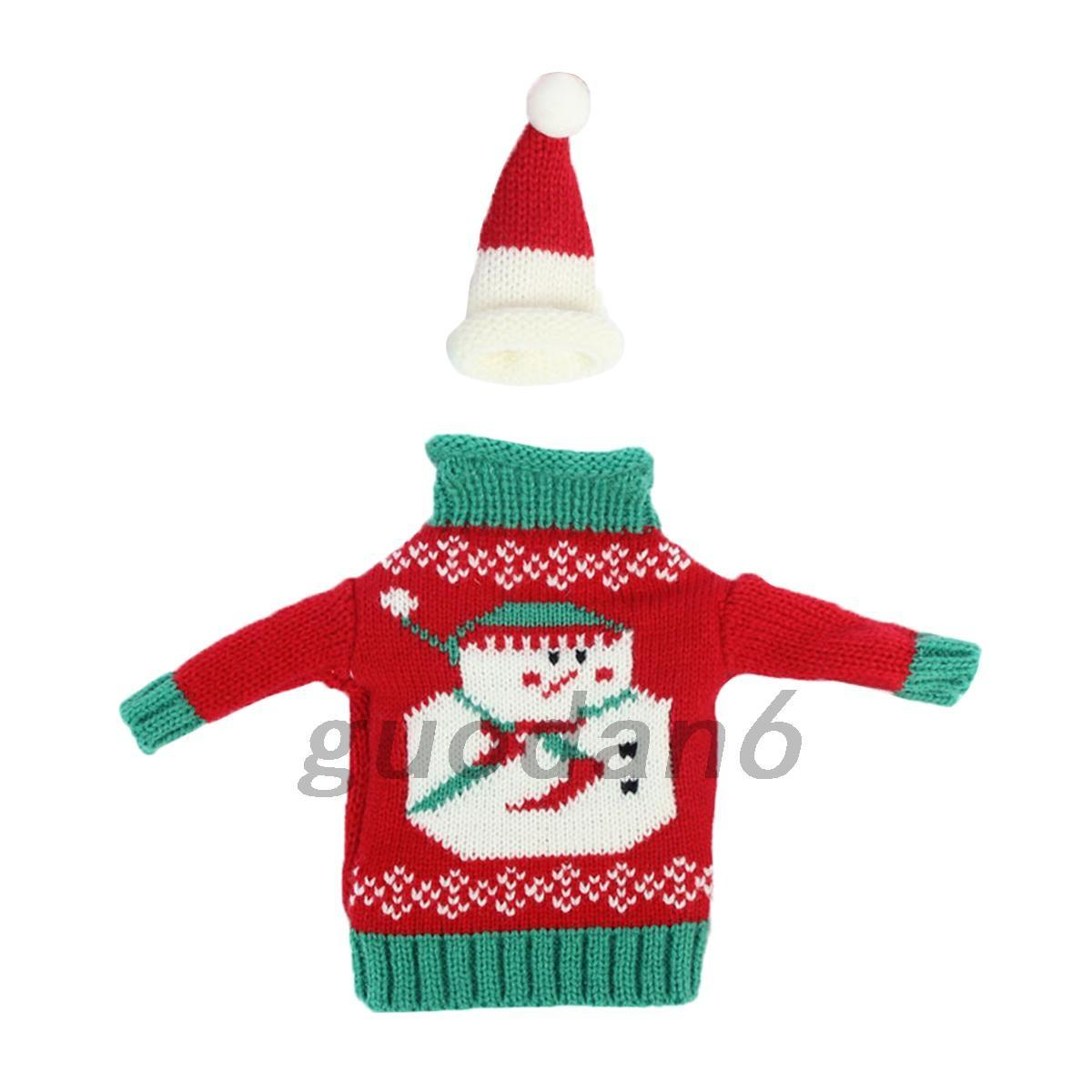 Home Wine Bottle Cover Wrap Knitted Sweater Hat Christmas