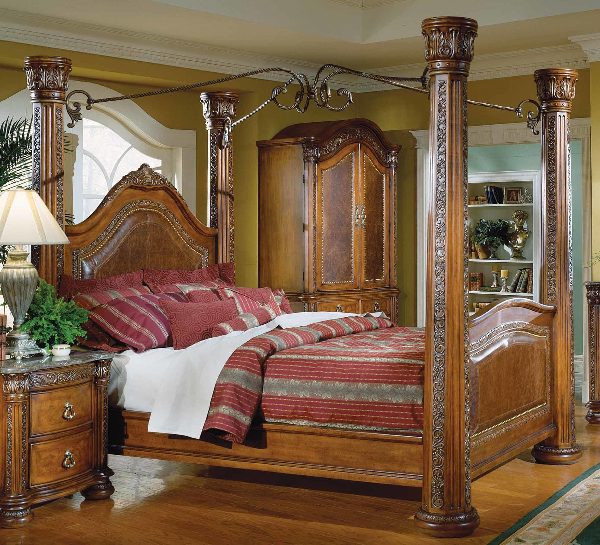 Homelegance Spanish Hills Canopy Bed Leather 851