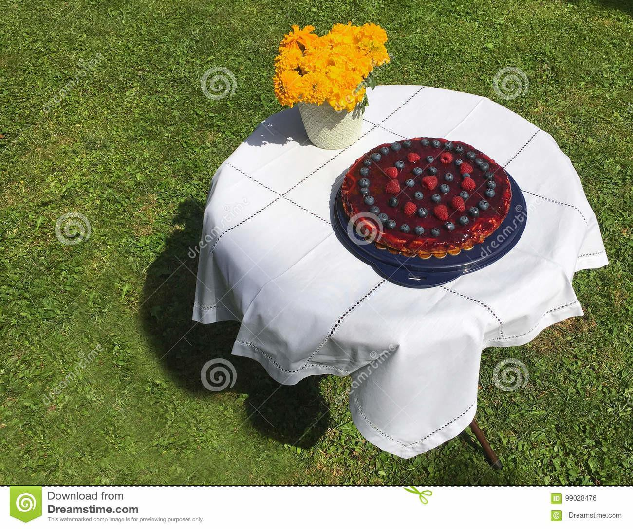 Homemade Berries Cheesecake White Tablecloth Bunch