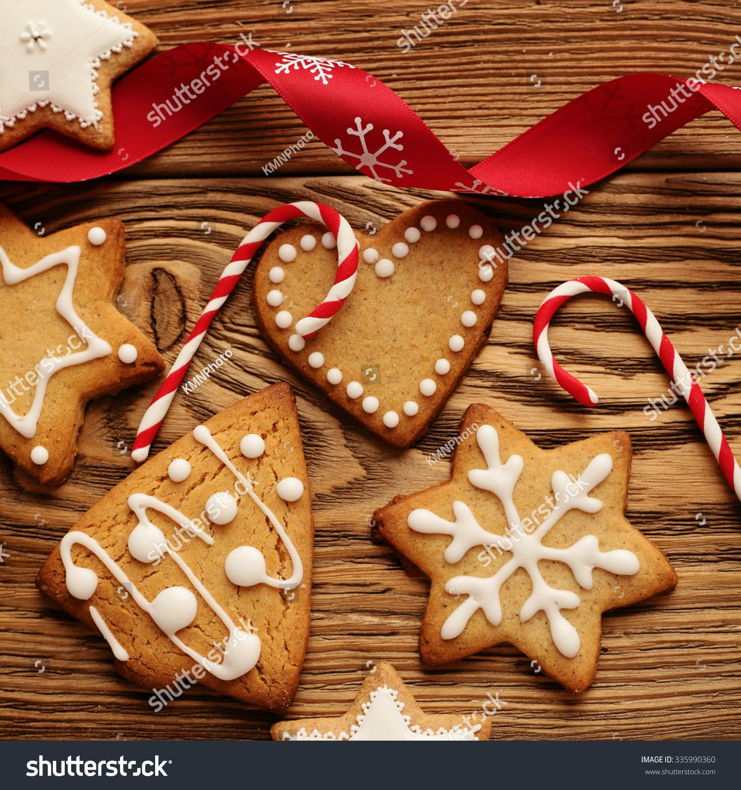 Homemade Christmas Gingerbread Cookies Wooden Stock