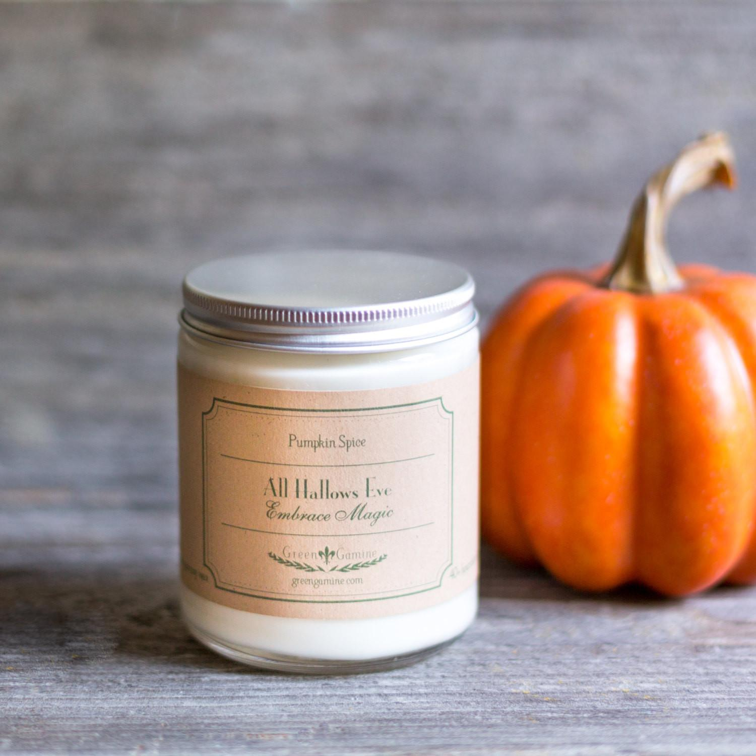 Homemade Halloween Soy Candle Pumpkin Spice Scent Green