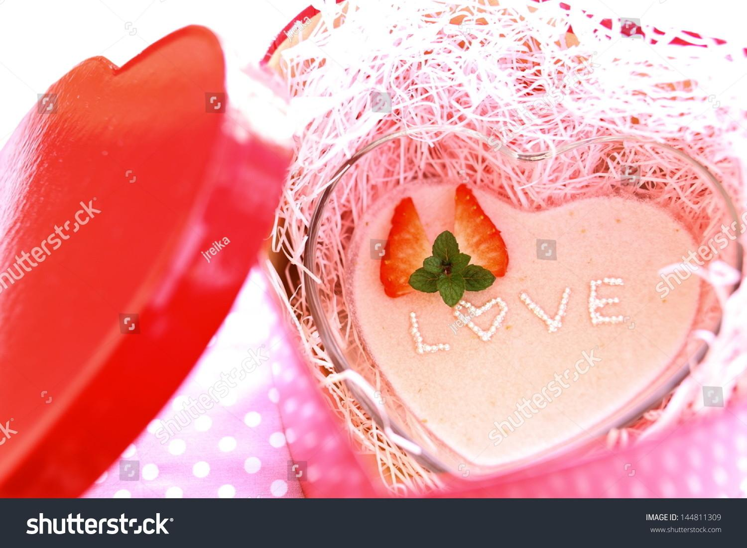 Homemade Heart Shaped Strawberry Mousse Love