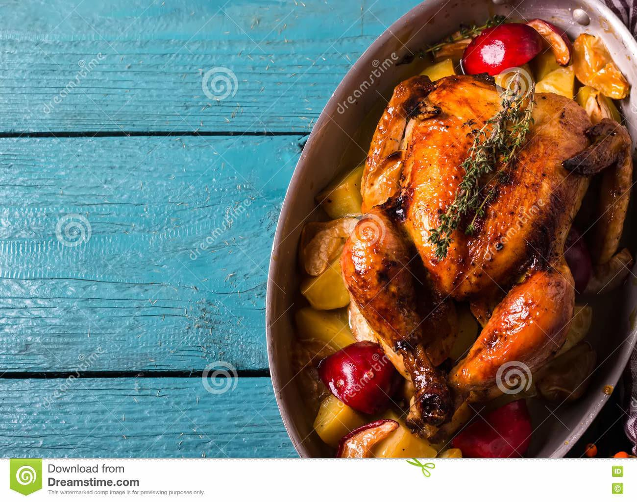 Homemade Roasted Thanksgiving Day Turkey Bright Blue