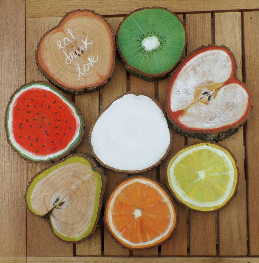 Homemade Wood Coasters Handpainted Fruit Series