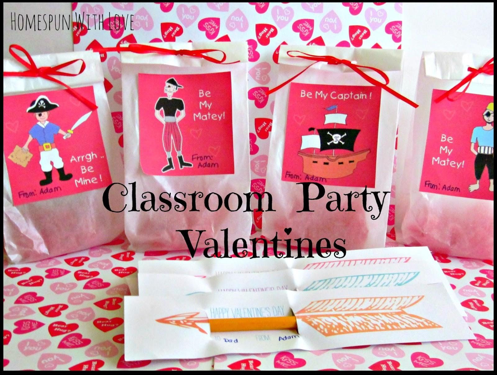 Homespun Love Classroom Party Valentines