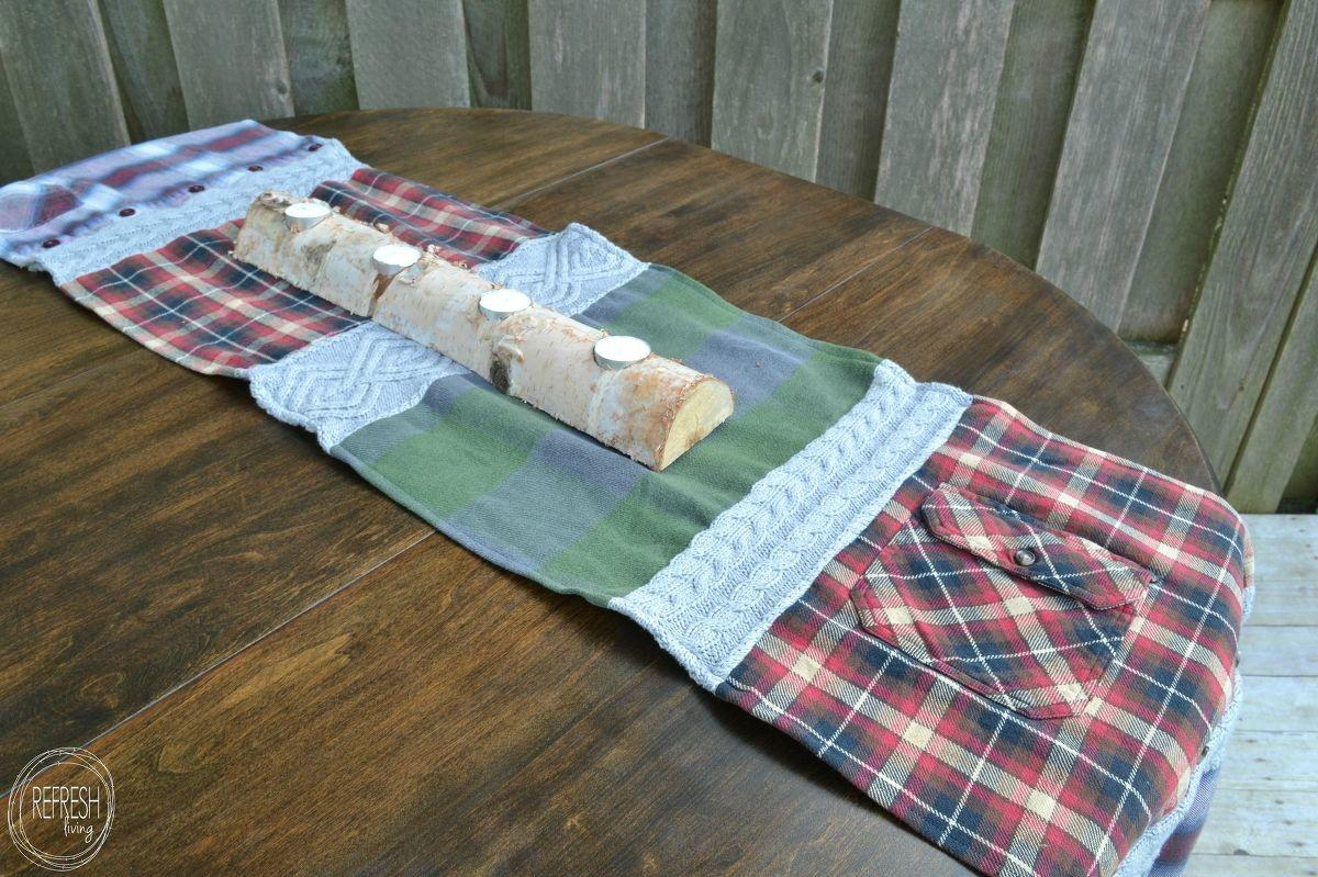 Hometalk Cozy Table Runner Old Flannel Shirts