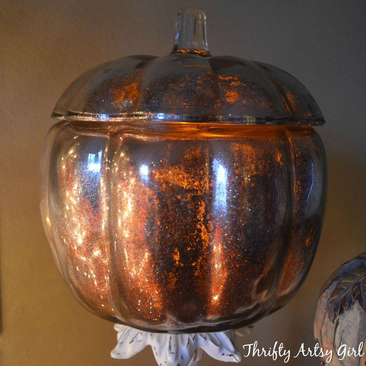 Hometalk Diy Gold Glitter Mercury Glass Pumpkin