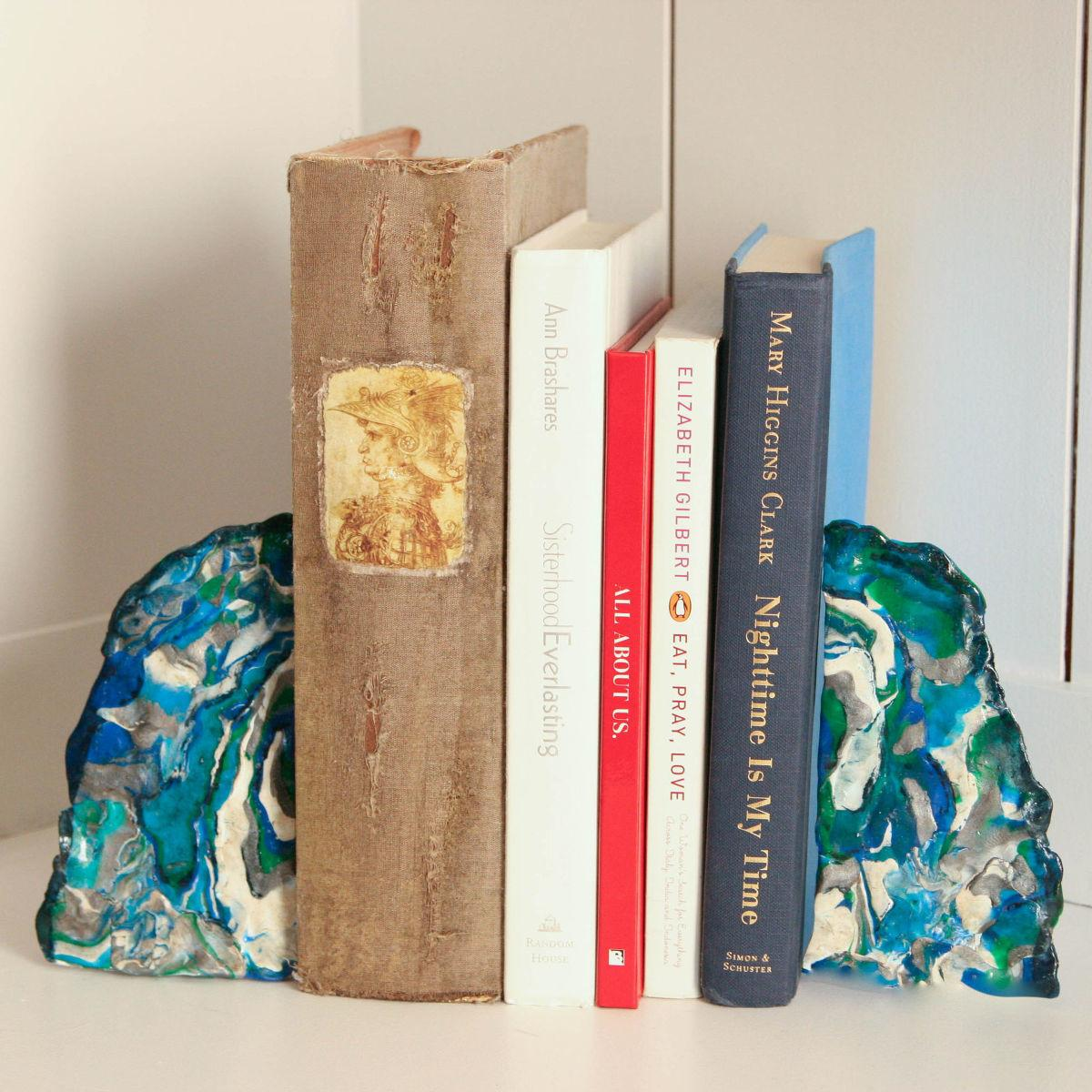 Hometalk Faux Agate Bookends Craft
