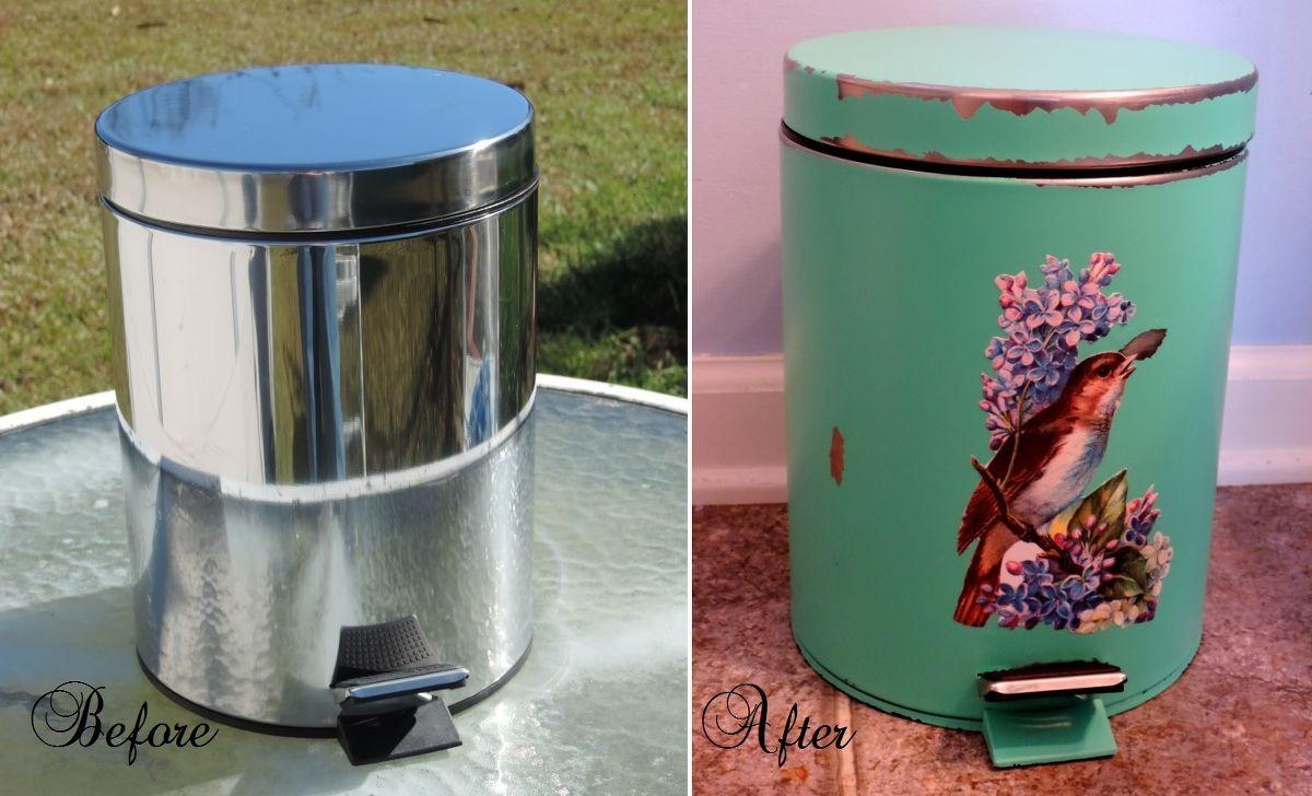 Hometalk Give Generic Trash Can Cottage Style Makeover