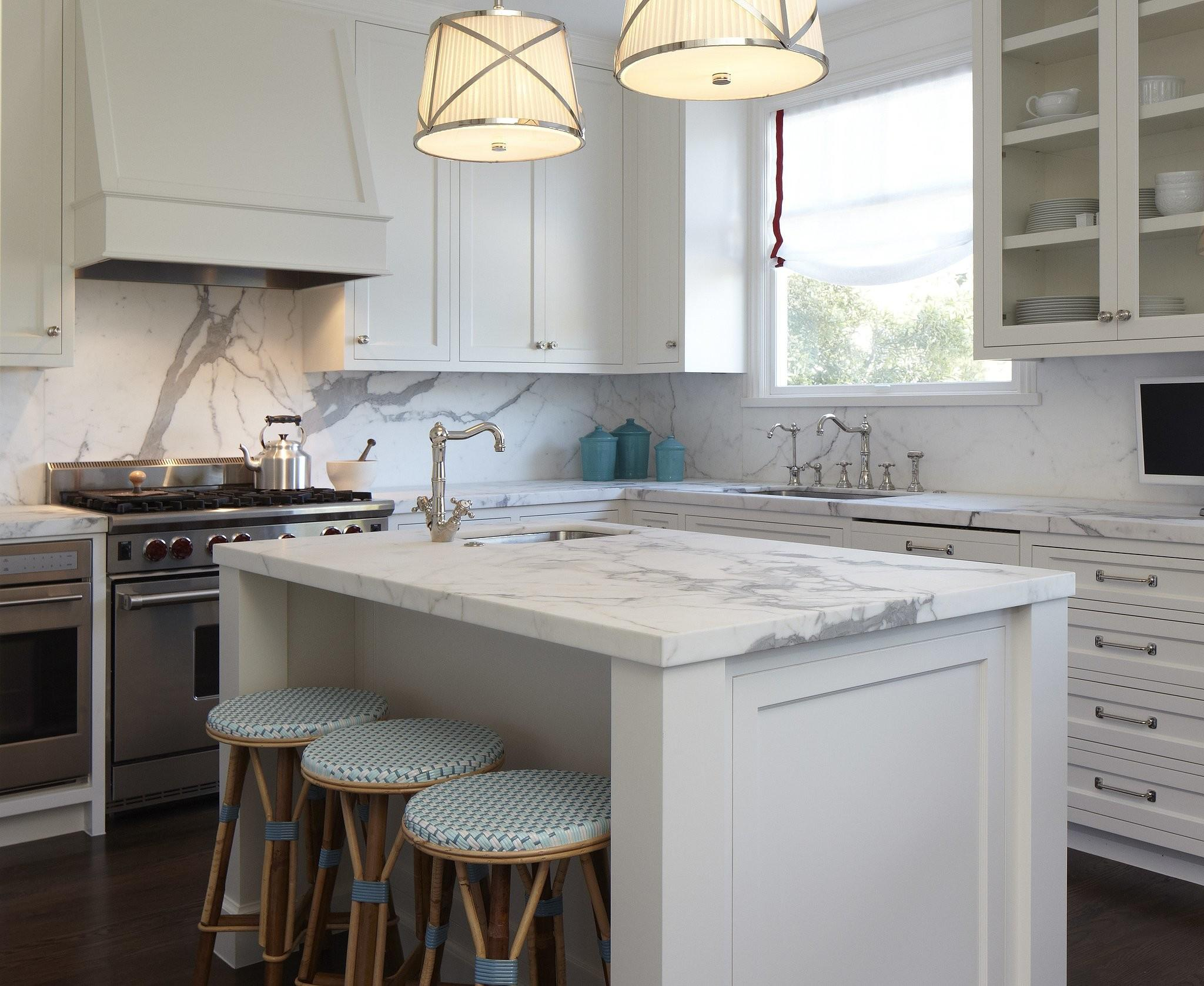 Honed Marble Island Provides Additional Work Surface