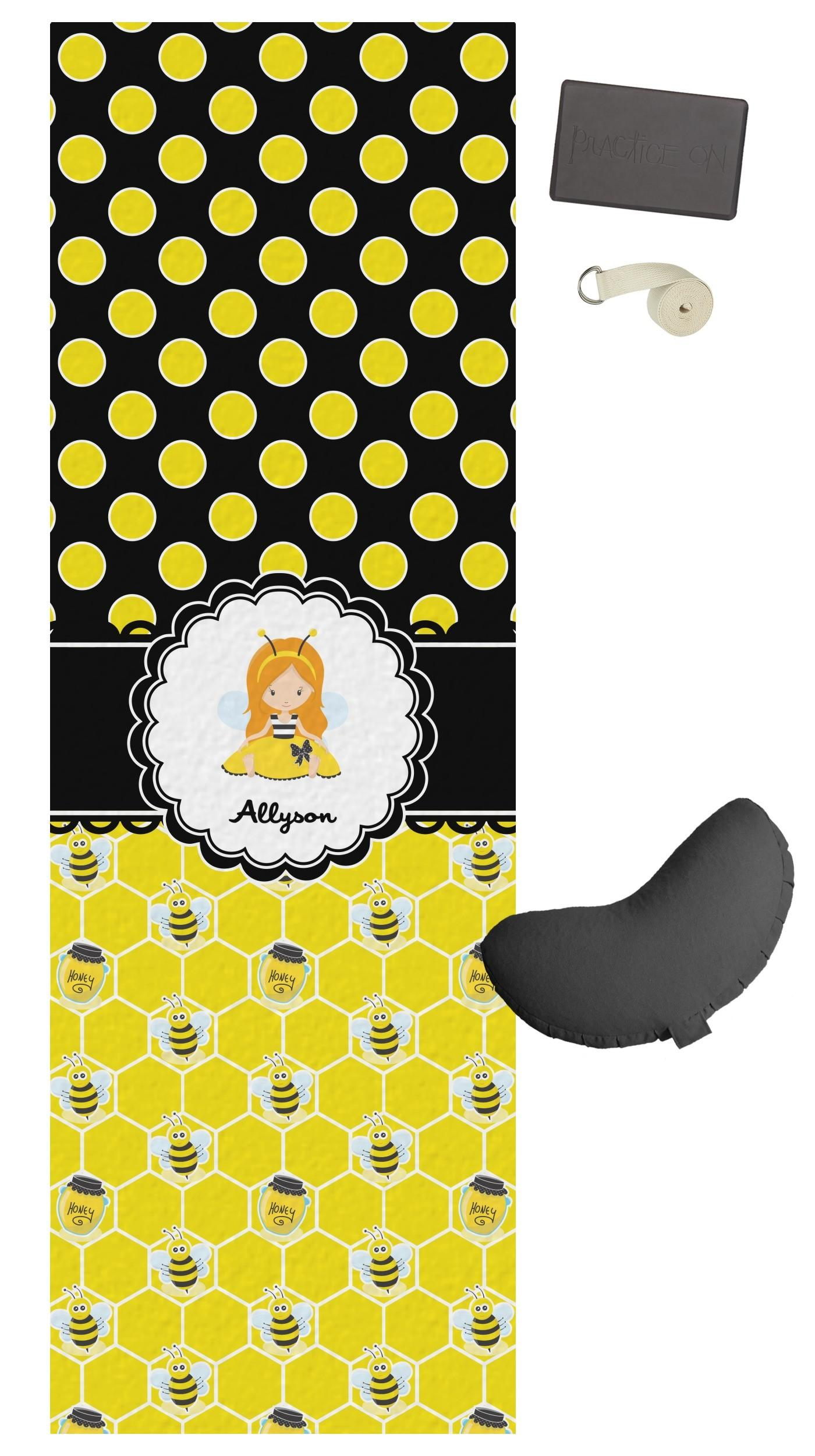 Honeycomb Bees Polka Dots Yoga Mat Personalized