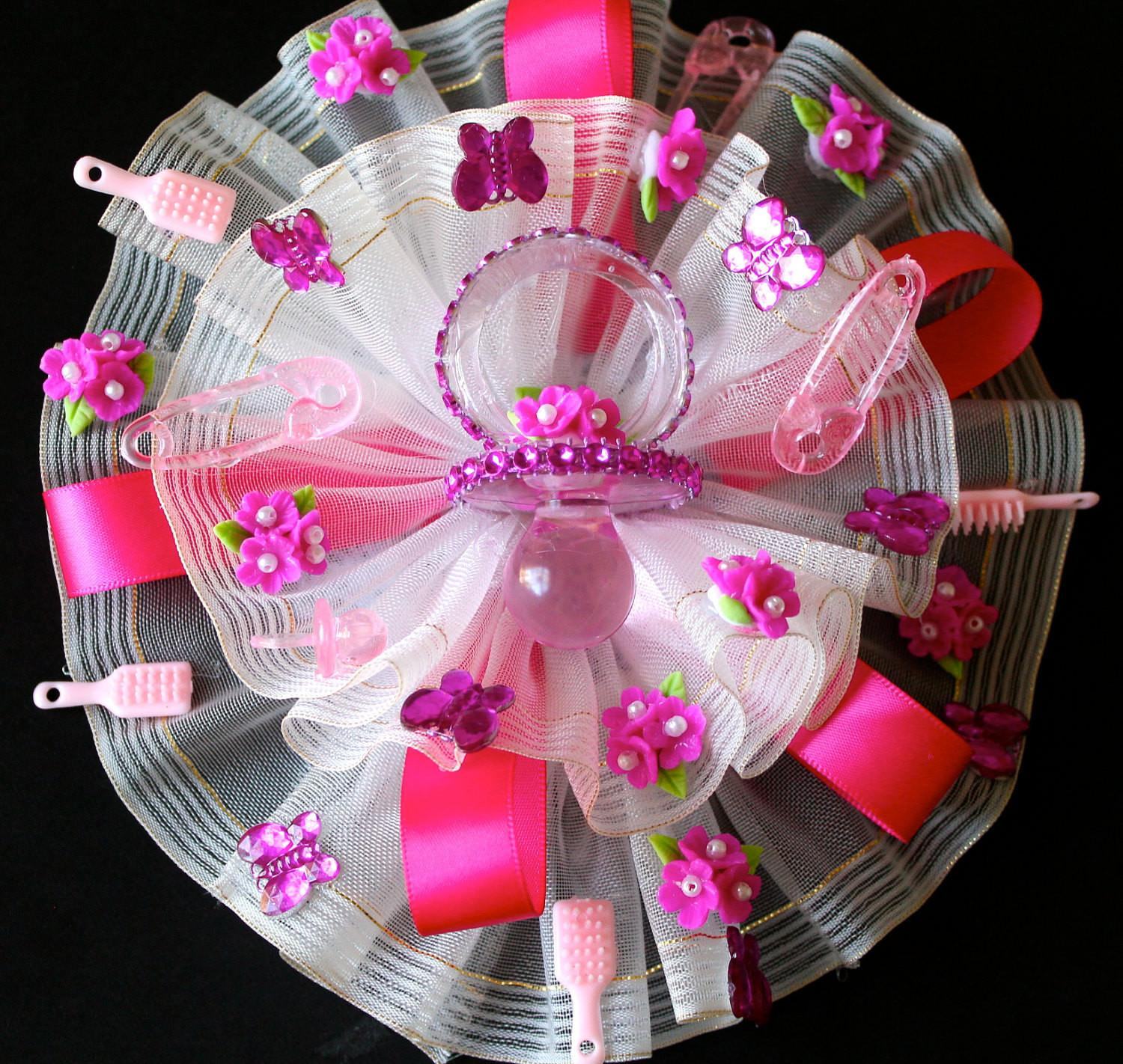 Hot Pink Baby Shower Corsage Mom