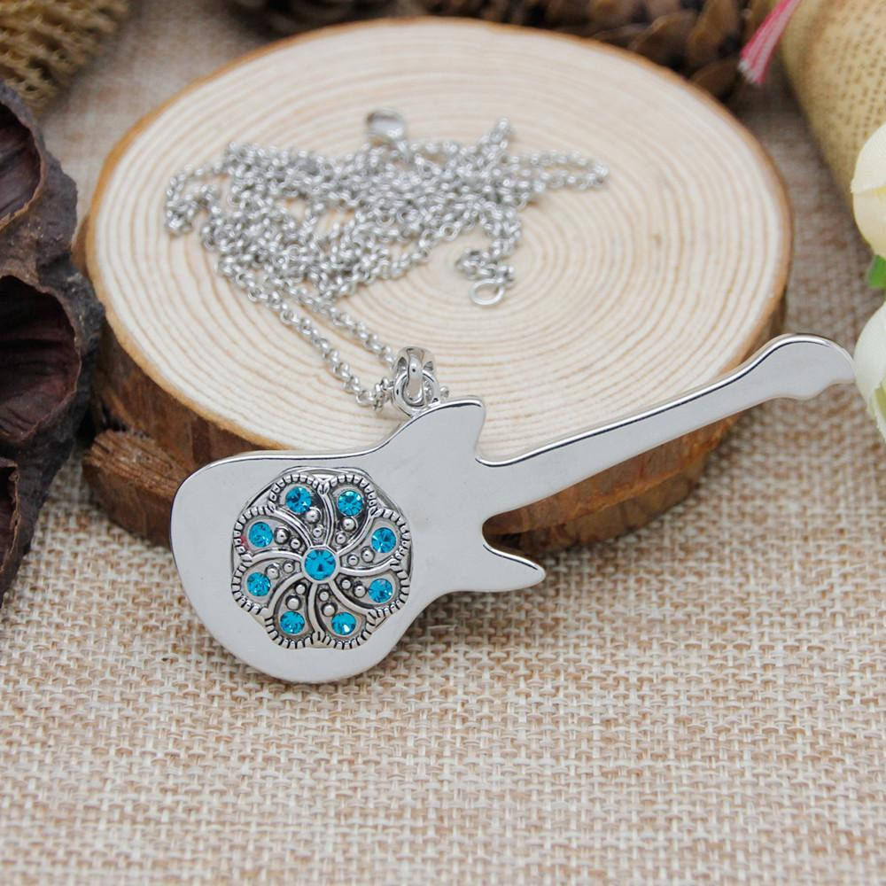 Hot Sale Snap Button Jewelry Guitar Pendant Necklace