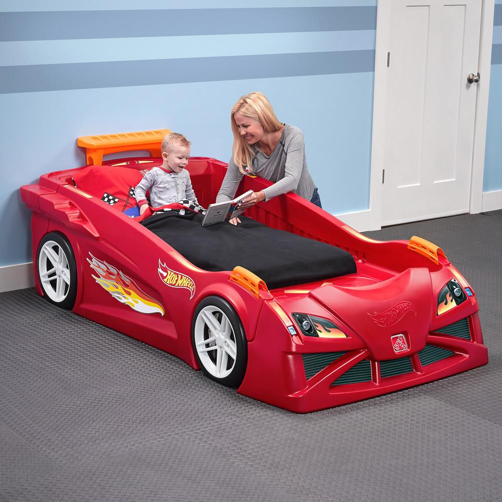Hot Wheels Toddler Twin Race Car Bed Red Kids