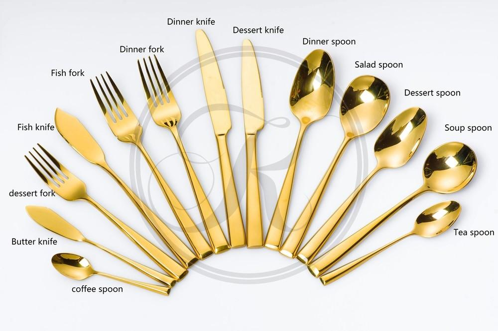 Hotel Gold Silverware Stainless Steel Tableware Golden