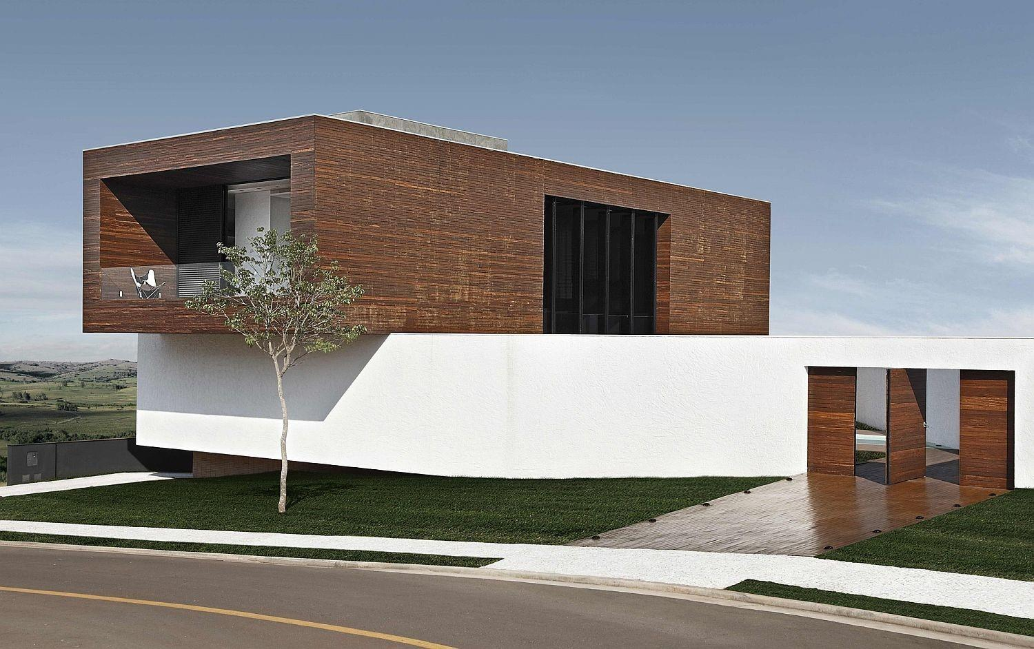 House Cantilevered Brilliance Wrapped Concrete Wood