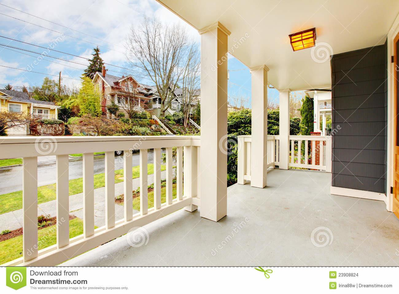House Front Covered Porch Wood Door Spring