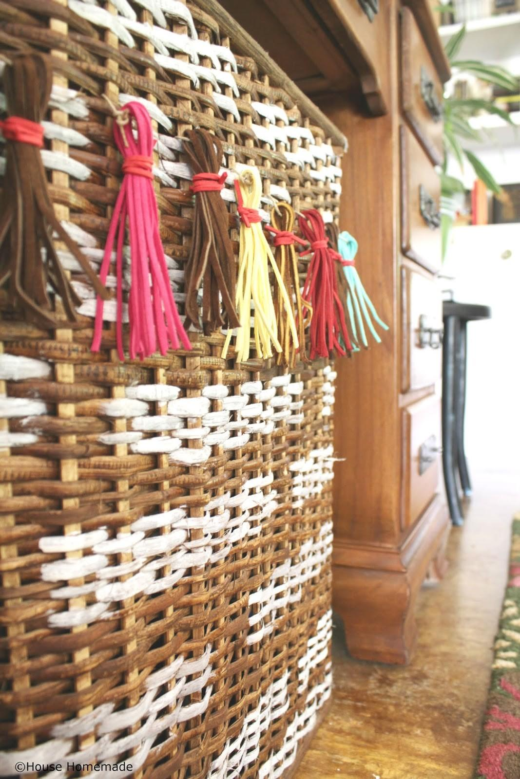 House Homemade Painted Wicker Basket Other Easy