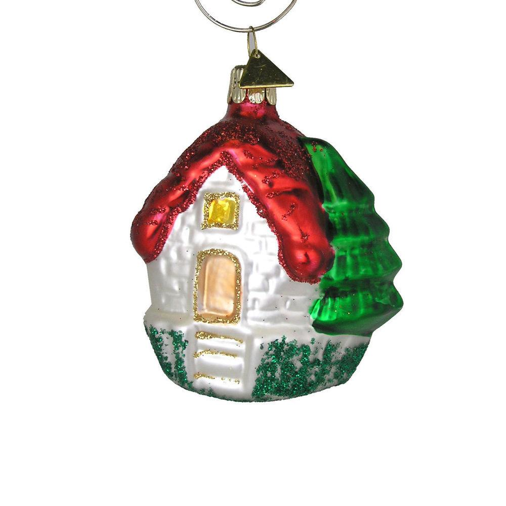 House Red Roof Christmas Tree Ornament Handblown