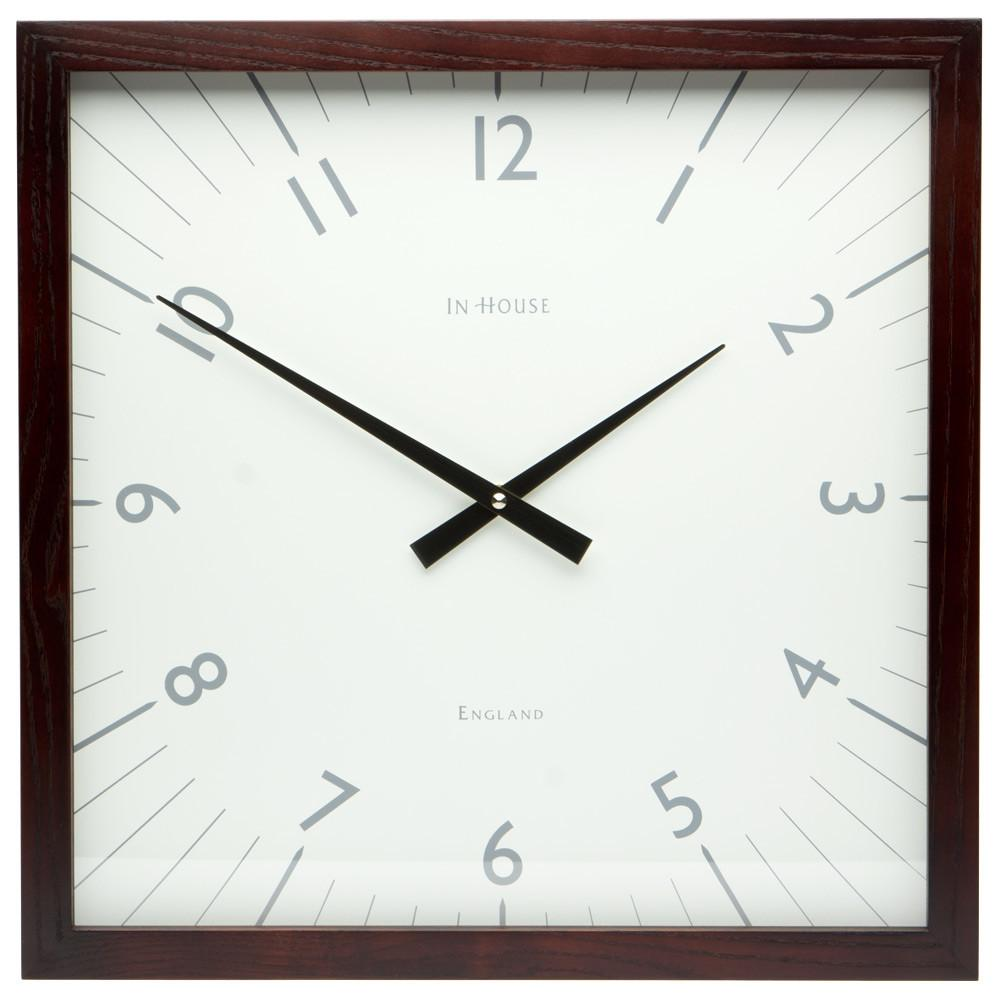 House Square White Wall Clock Walnut Frame