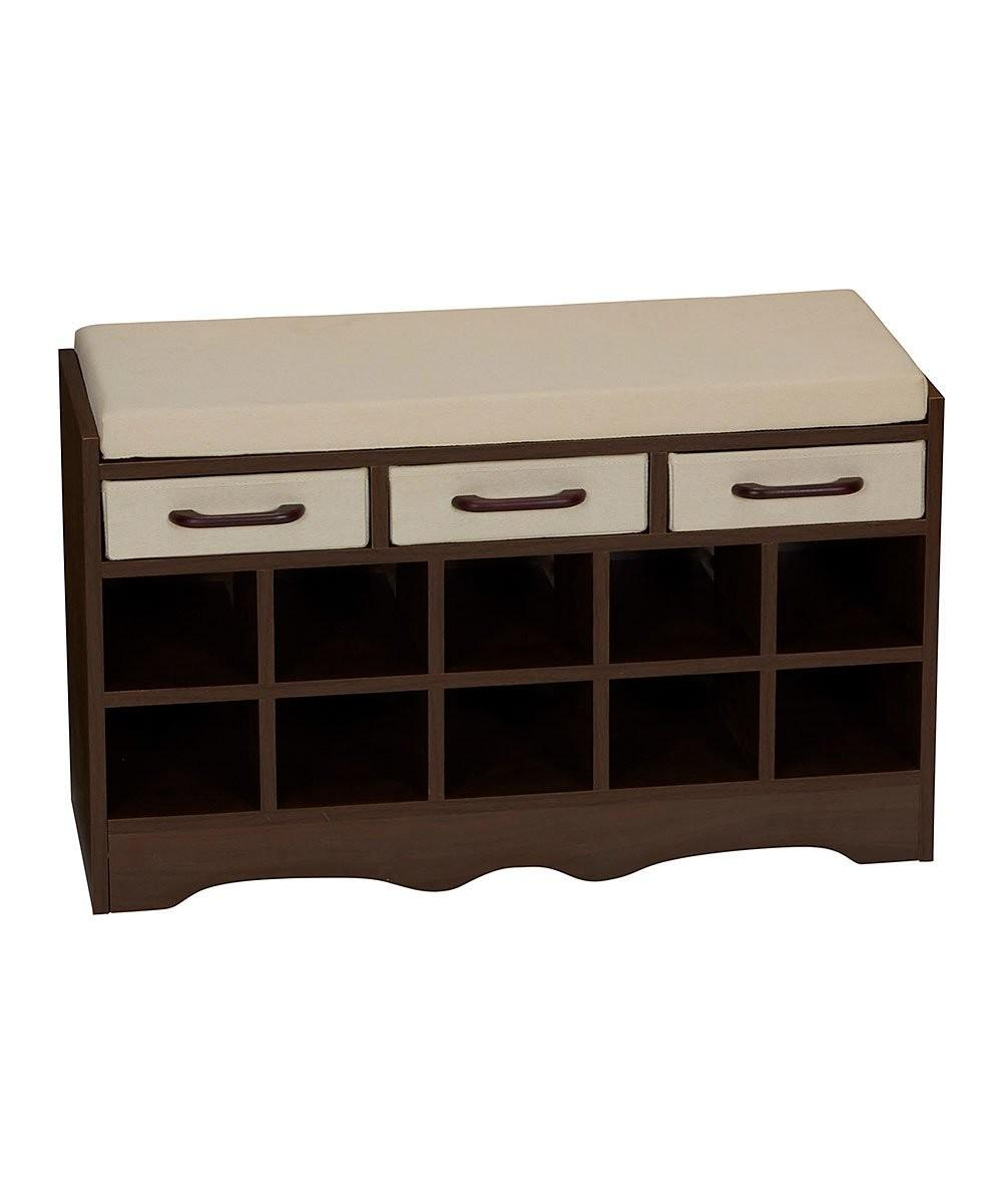 Household Essentials Mahogany Entryway Storage Bench Zulily