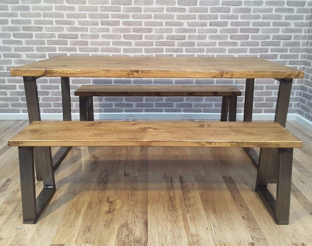 Hoxton Frame Rustic Industrial Wood Dining Table Steel