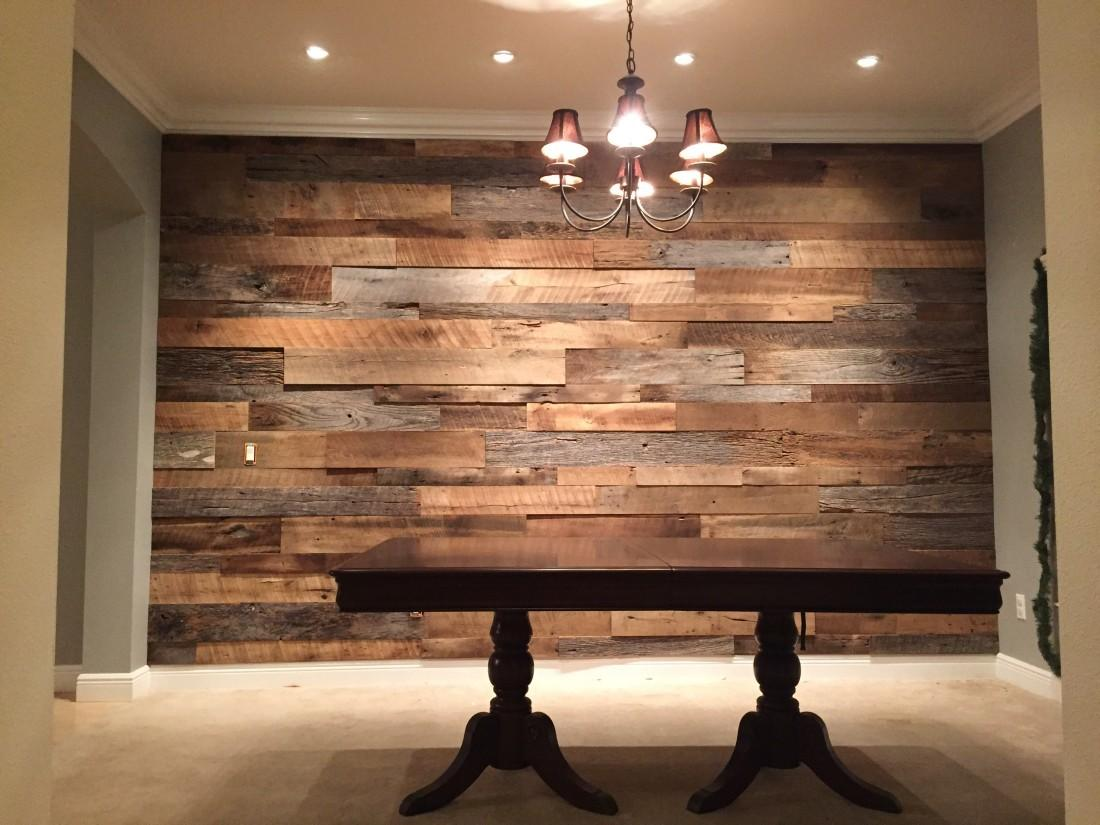 Hughes Dining Room Reclaimed Wood Accent Wall Fama