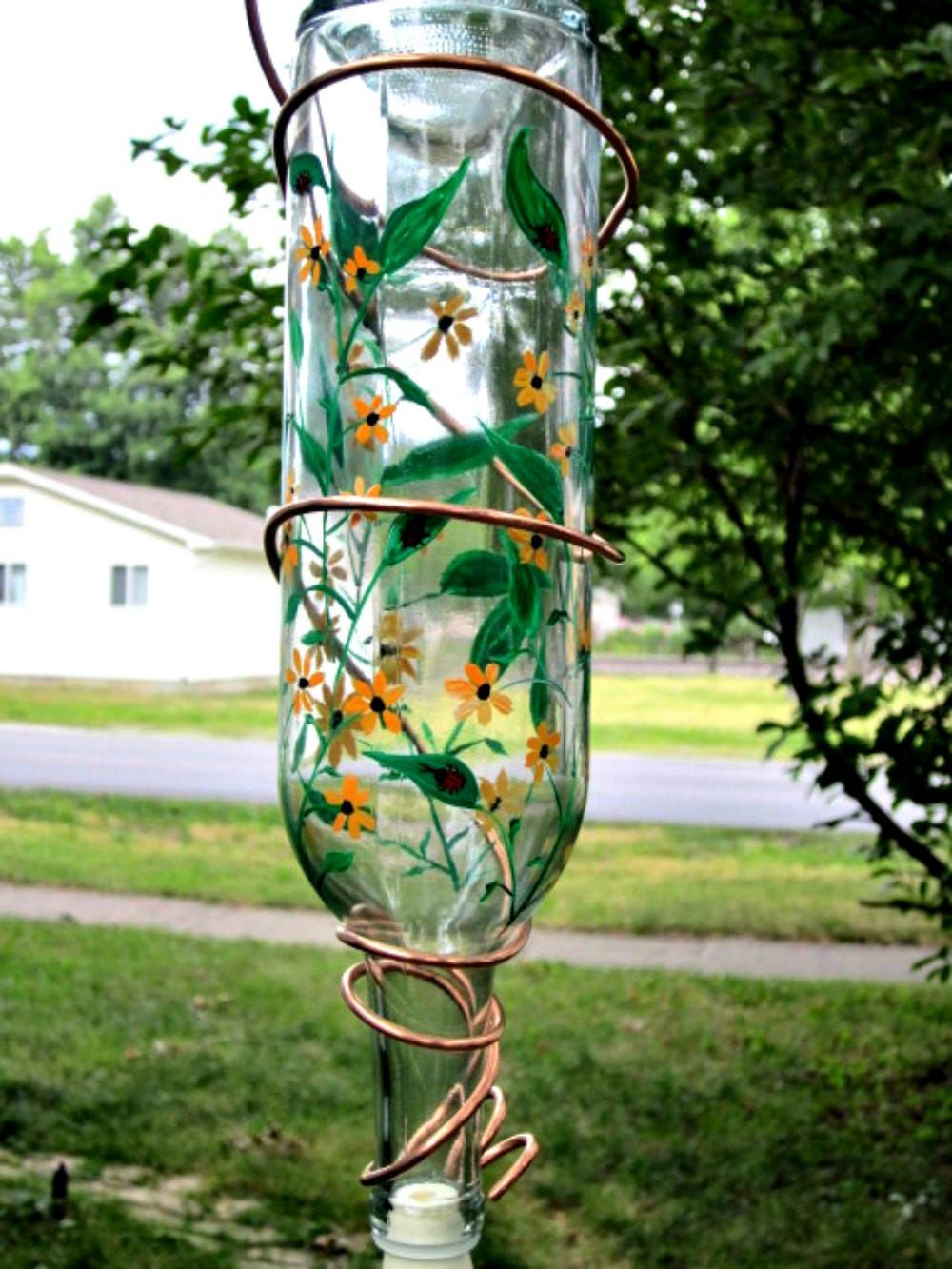 Hummingbird Feeder Recycled Clear Wine Bottle Hand Painted