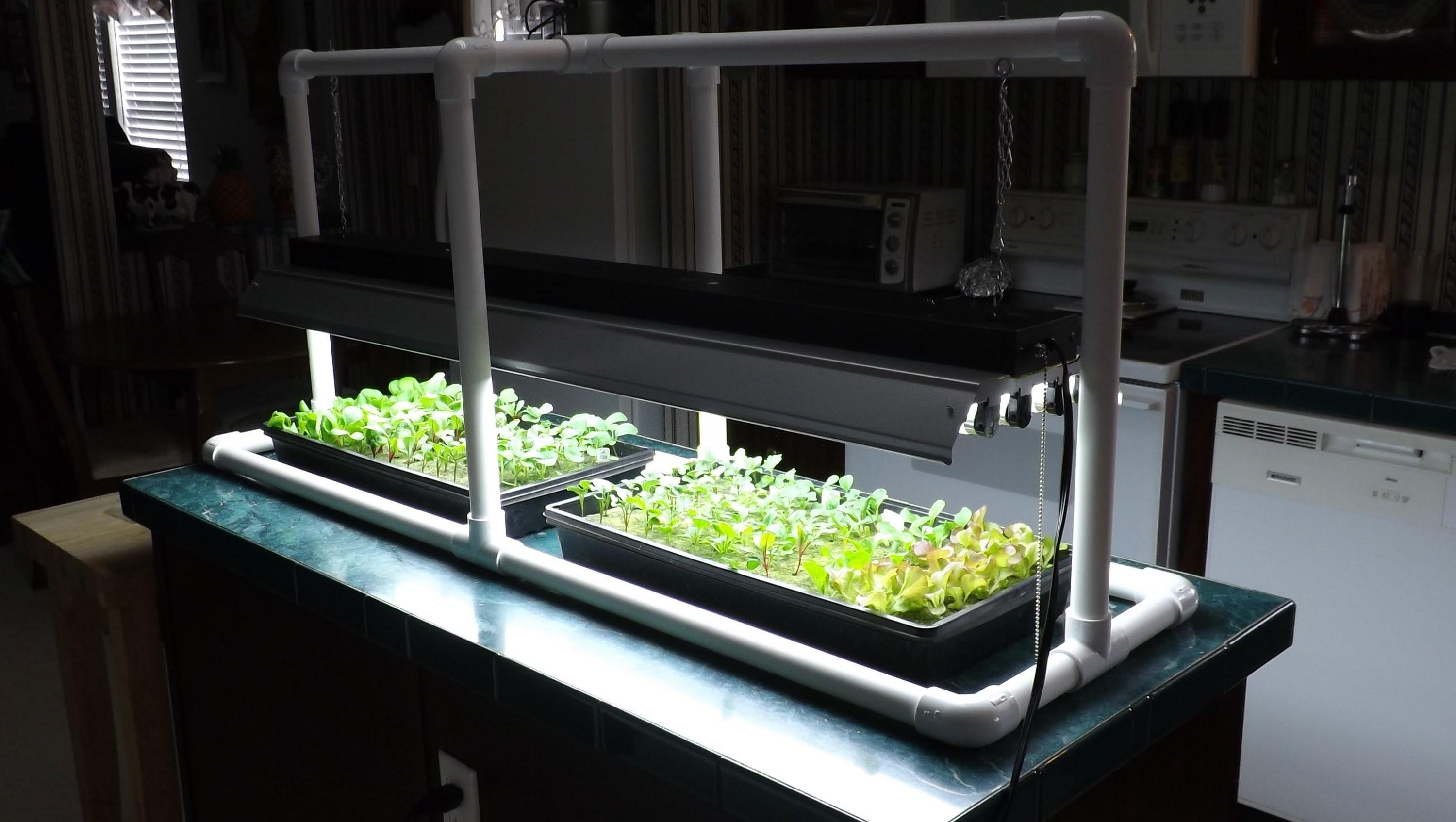 Hydroponic Seed Starting Simple Pvc Grow Light Stand
