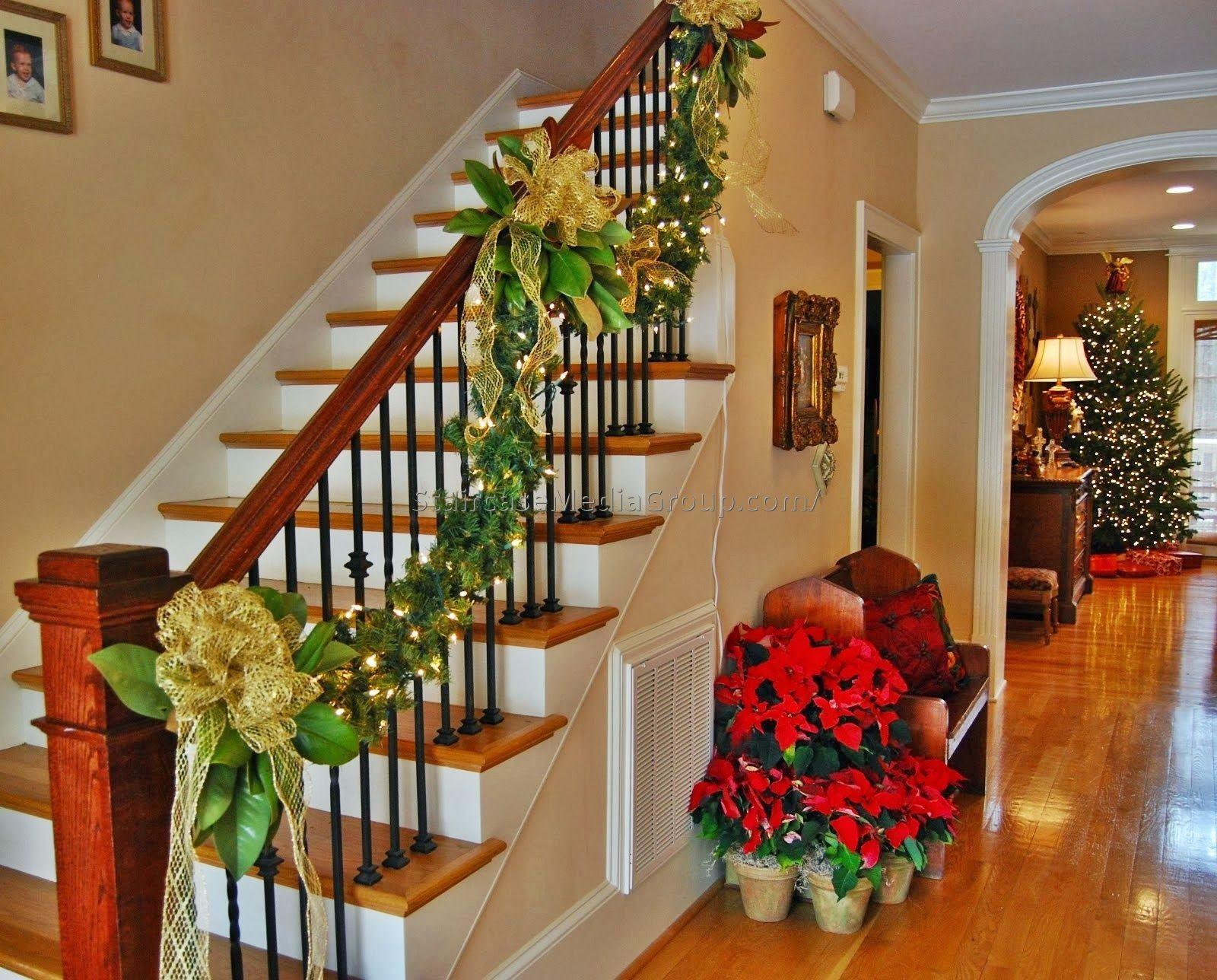 Ideas Decorating Staircase Christmas Best