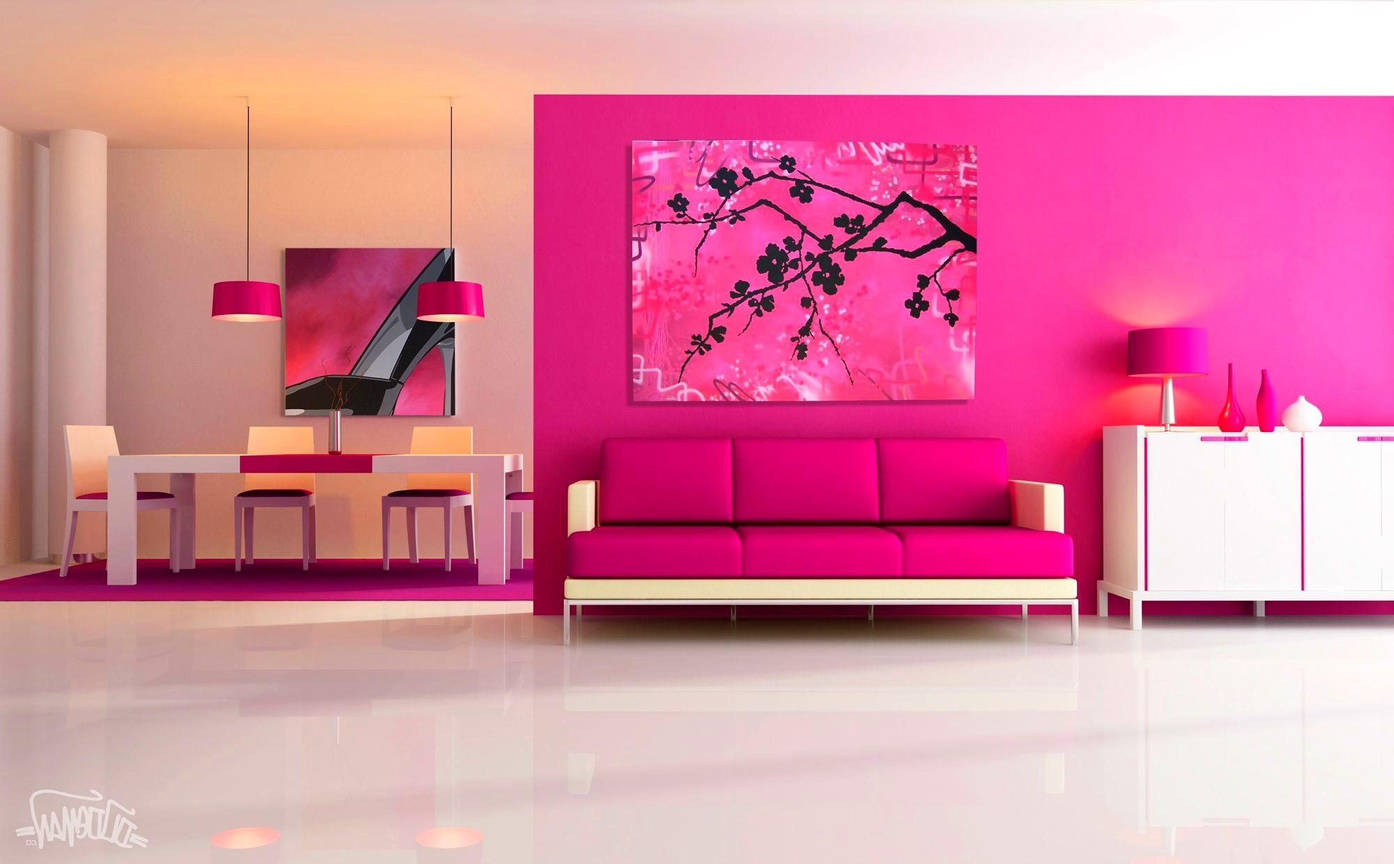 Ideas Pink Living Room Paint Furniture Colors