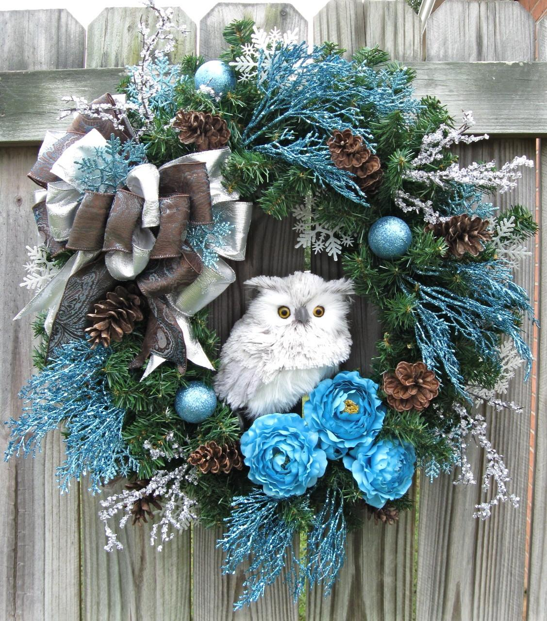 Igw Winter Owl Wreath Turquoise Silver Brown