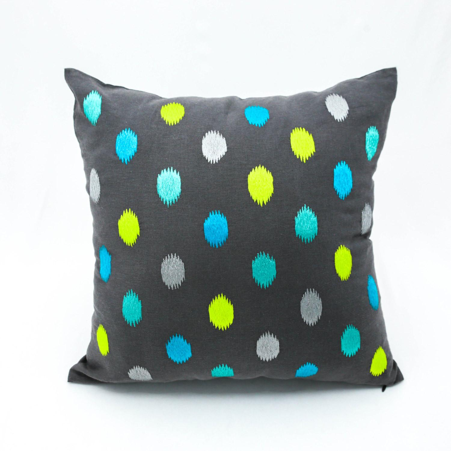 Ikat Dots Pillow Cover Modern Throw Dark Grey
