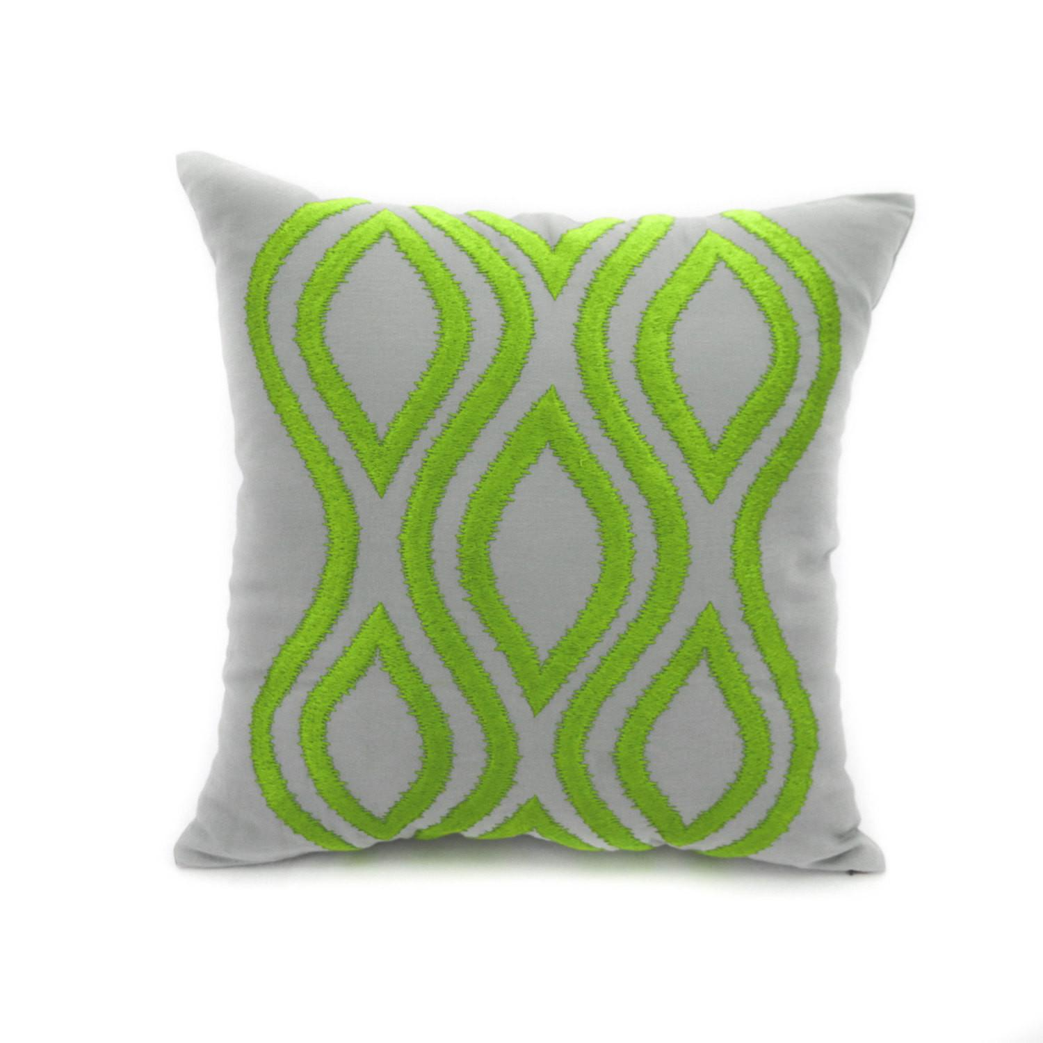 Ikat Pillow Cover Throw Decorative Gray