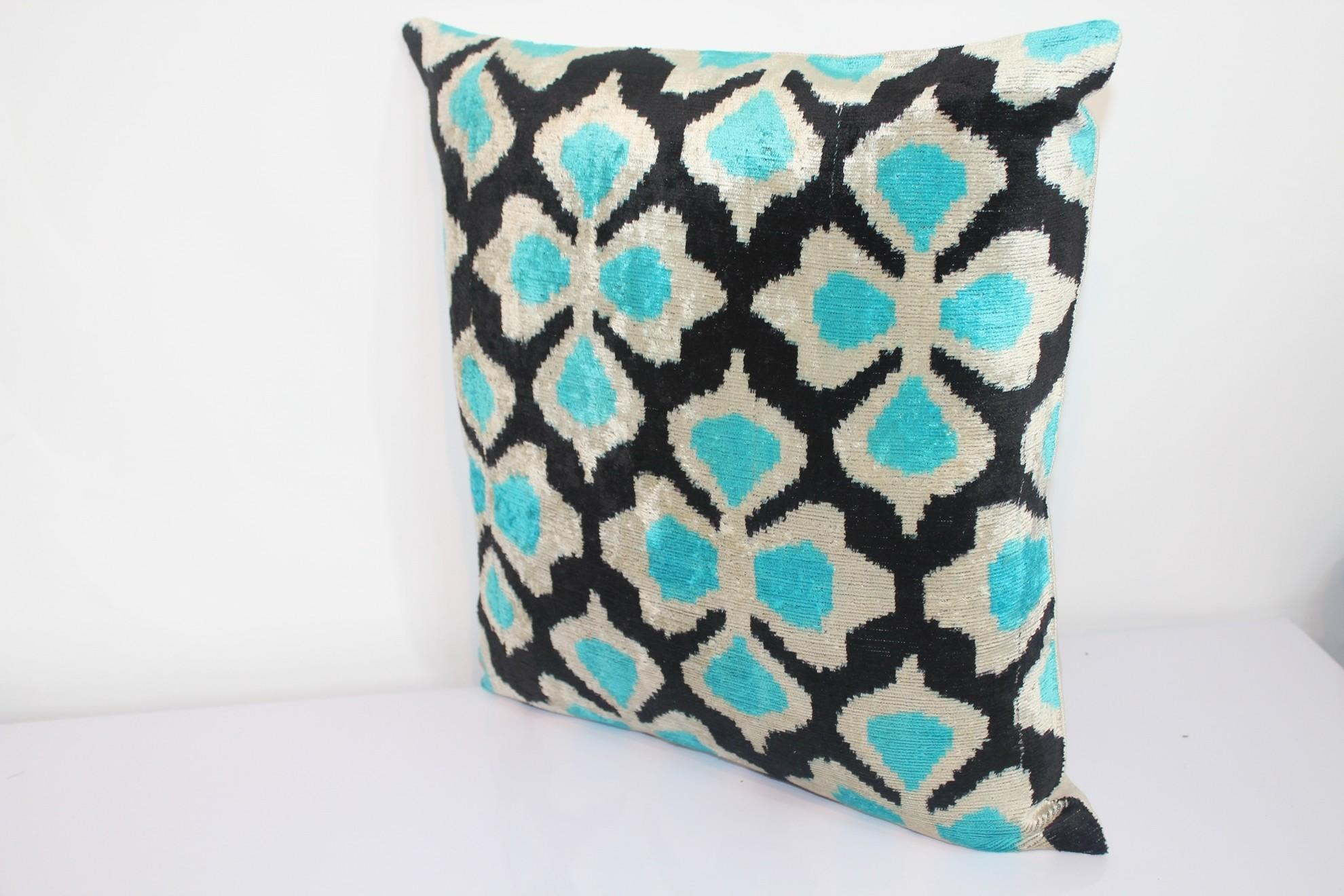 Ikat Velvet Pillow Cover Handmade Silk