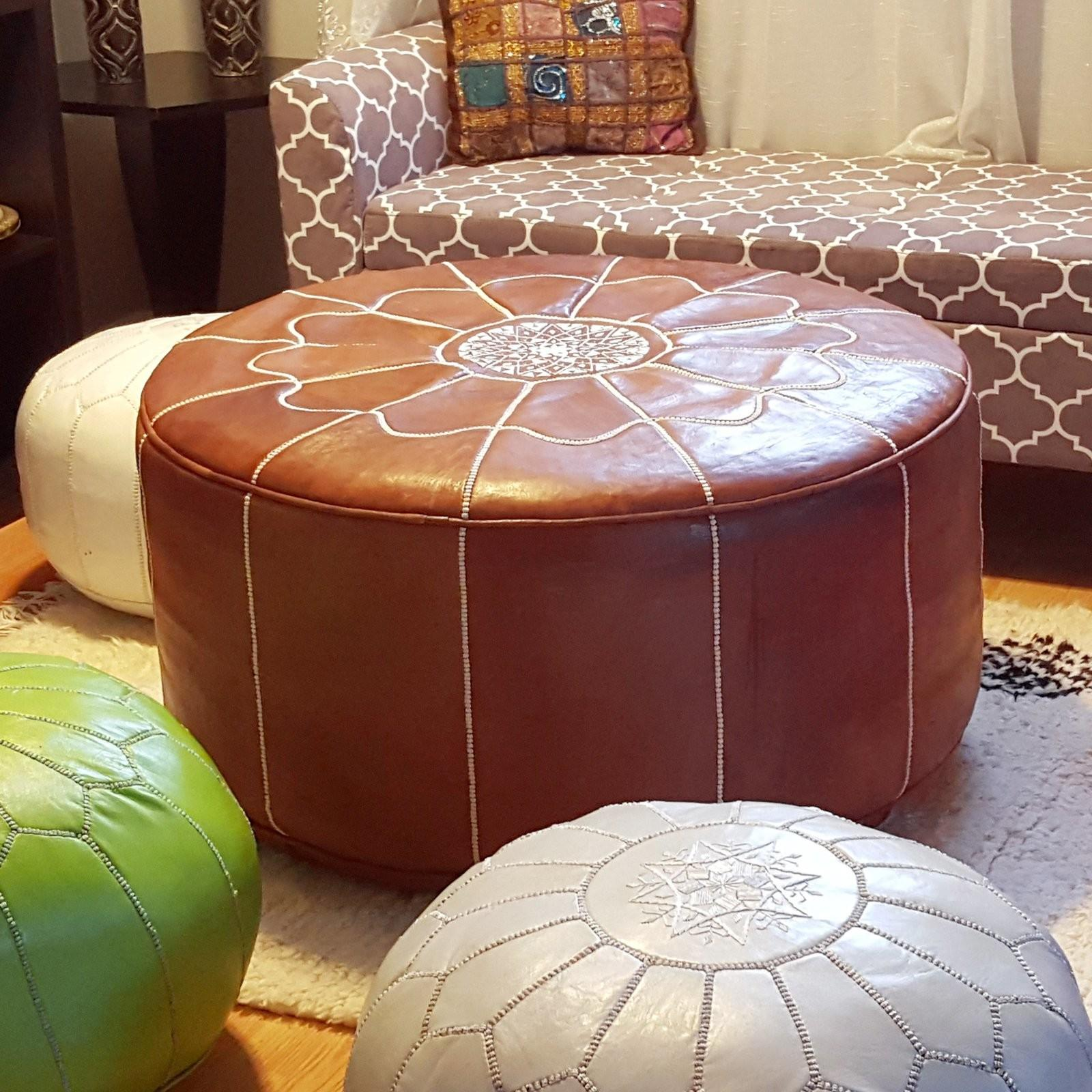 Ikram Design Genuine Leather Round Moroccan Pouf