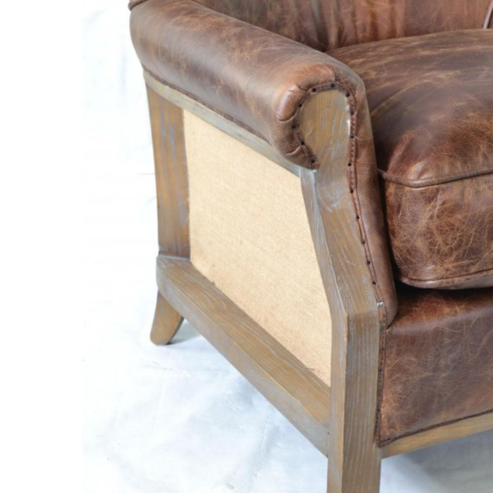 Inadam Furniture Aged Leather Hessian Armchair