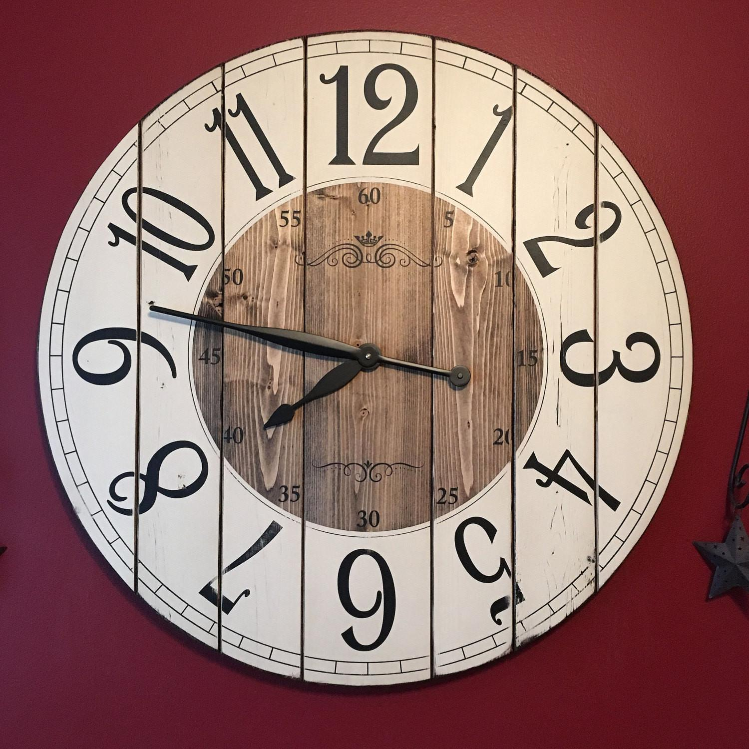Inch Farmhouse Clock Rustic Wall Large