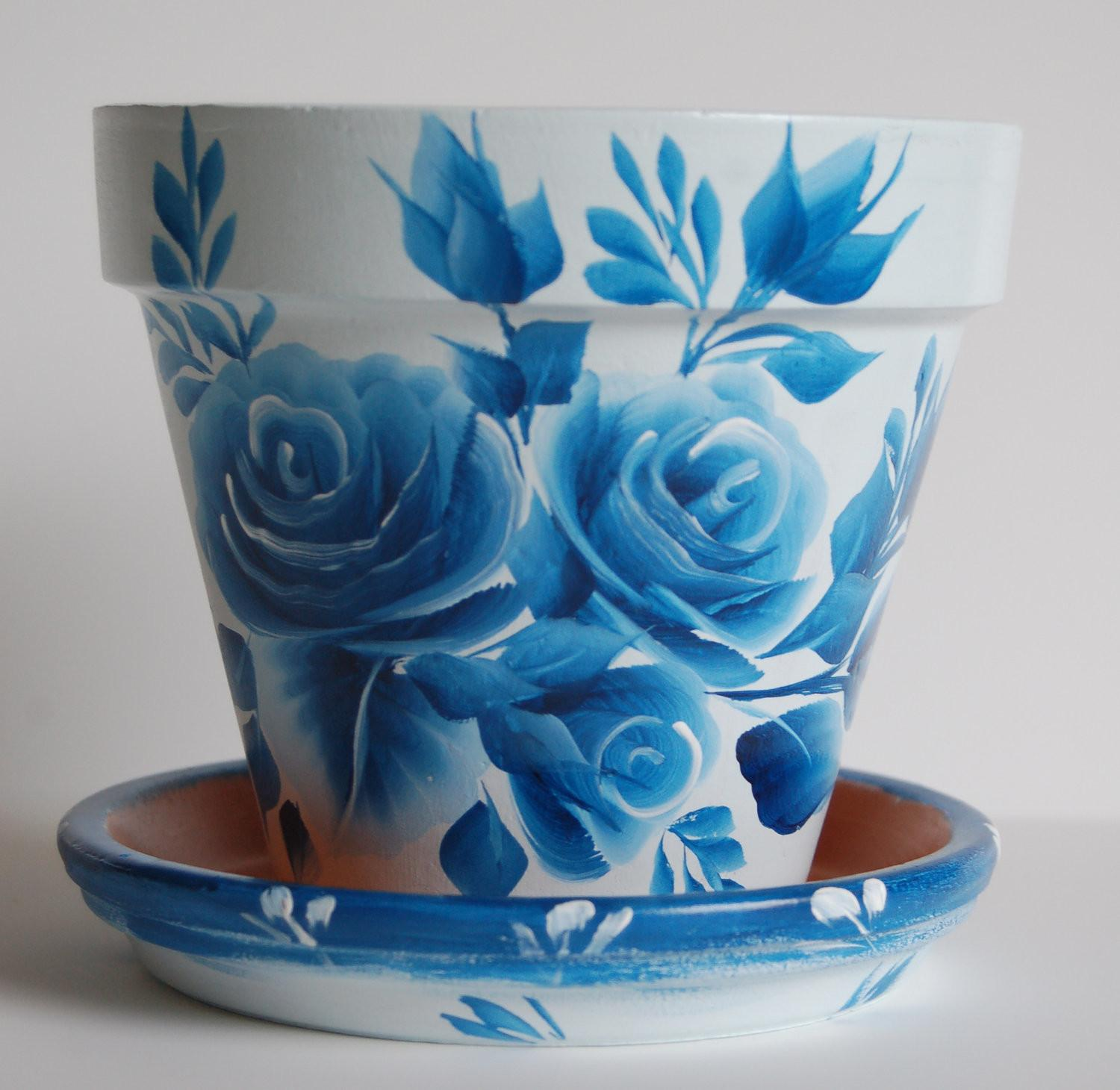 Inch Hand Painted Clay Flower Pot Matching Saucer