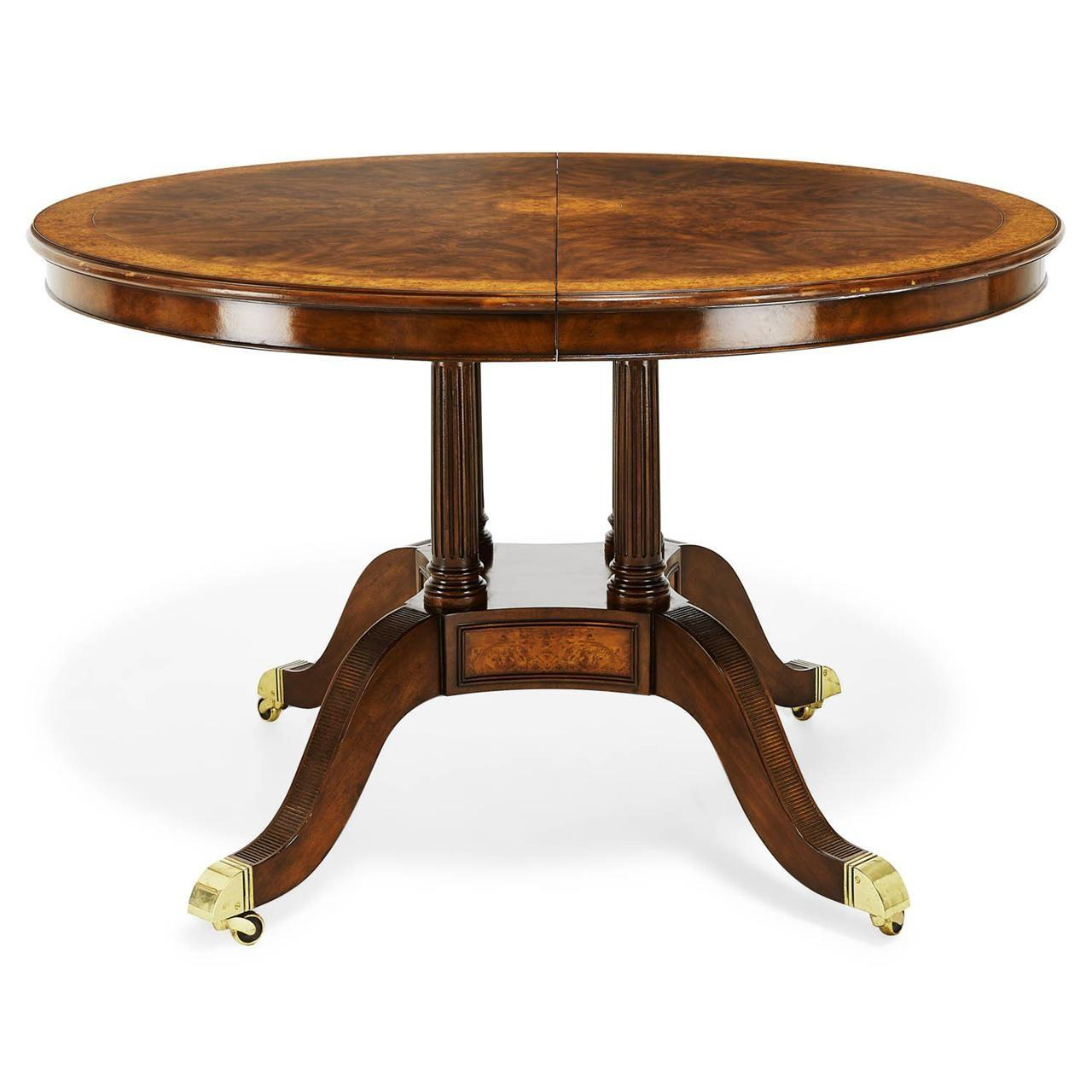 Inch Round Oval Walnut Yew Banded Dining Table