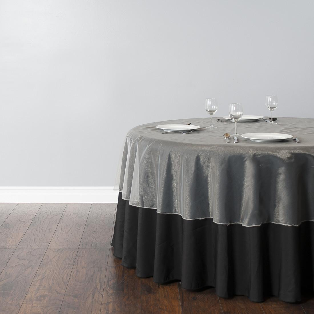 Inch Round Rganza Silver Tablecloth Home Design
